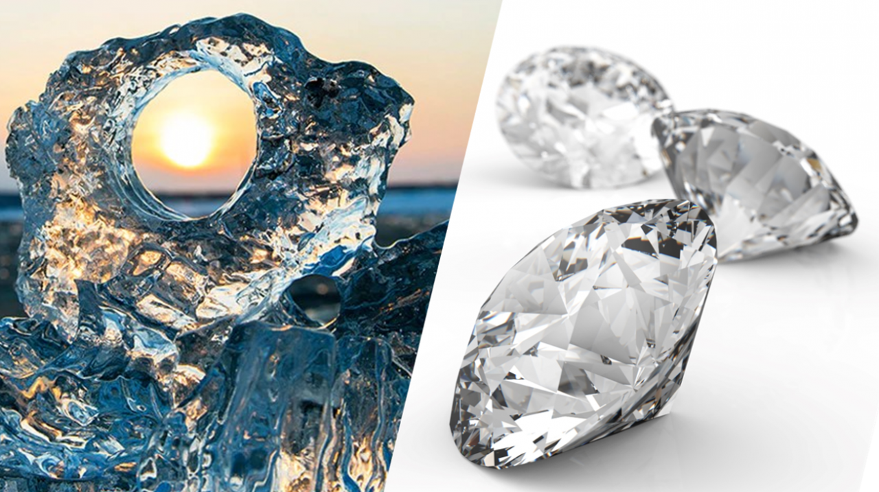 photographs of ice and diamond crystals