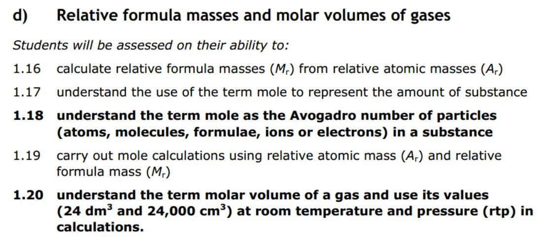 RFM and molar volume of gases